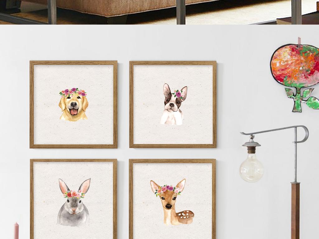 8款森系手绘水墨小动物卡通装饰画