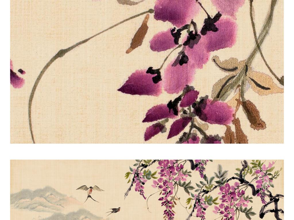手绘水墨山水国画紫藤花马头墙装饰画背景墙