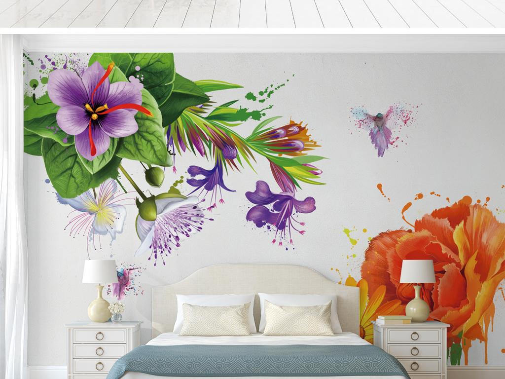 北欧风极简手绘植物背景墙壁纸
