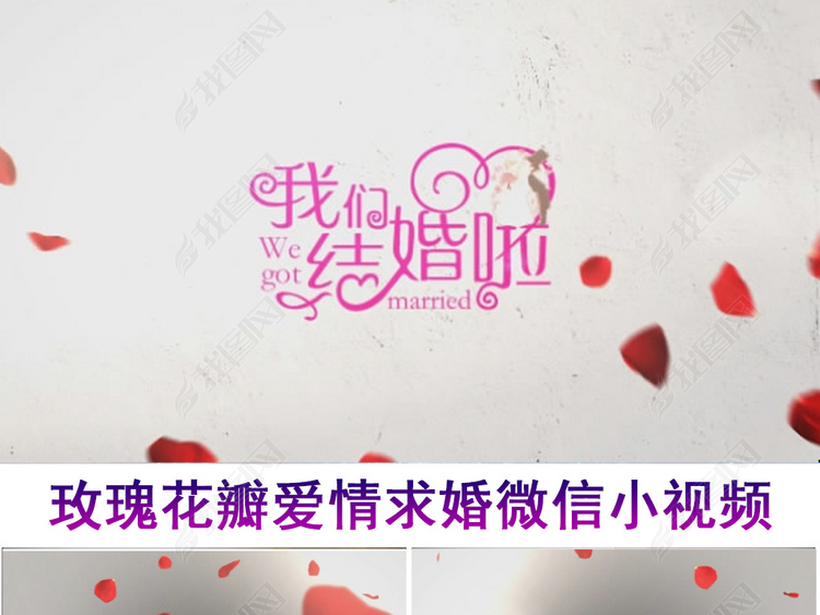 玫瑰花瓣爱情表白求婚微信小视频