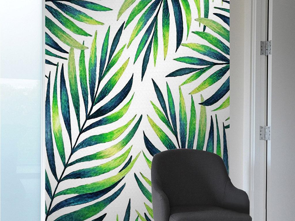 绿色树叶棕树叶子北欧小清新手绘植物装饰画
