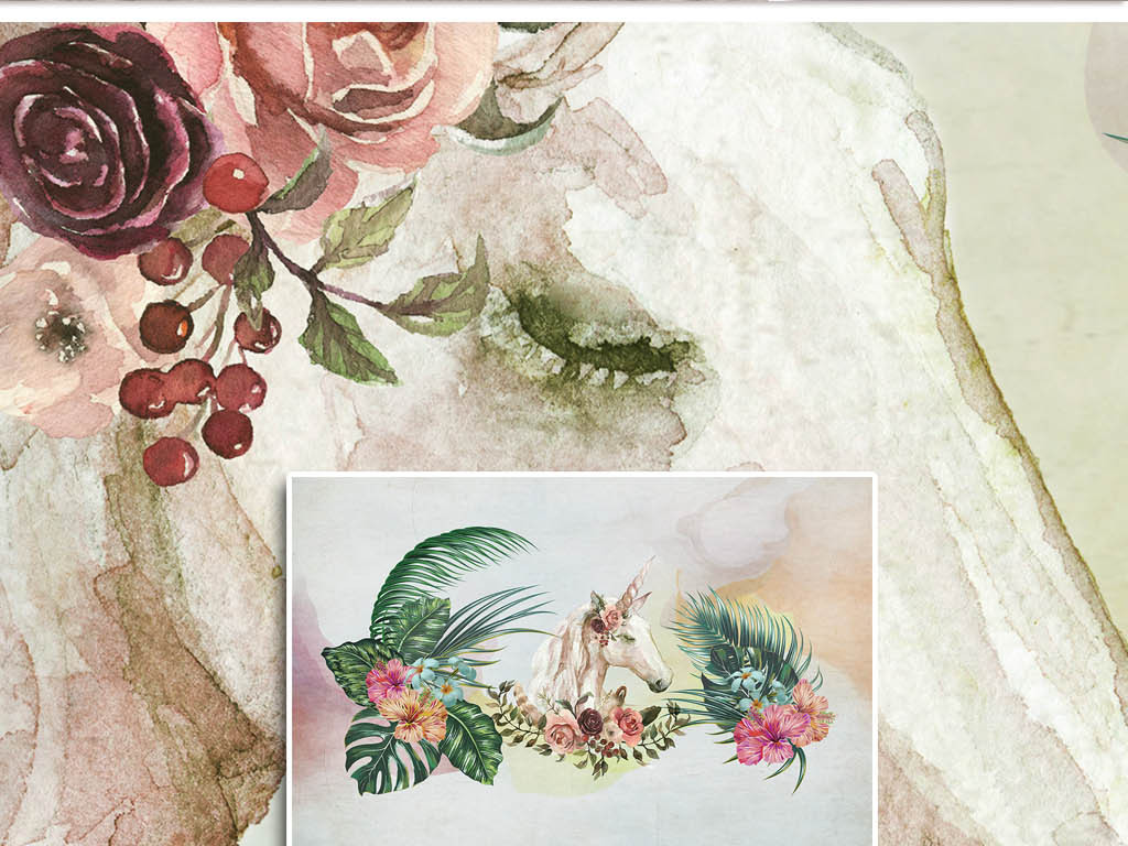 文艺柔美芭蕉叶花卉手绘独角兽背景墙
