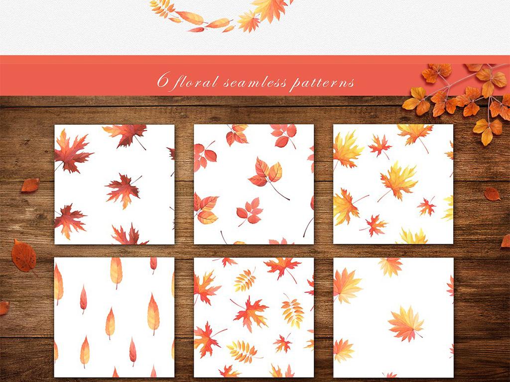 淡彩唯美手绘水彩秋季枫叶花环图案设计元素