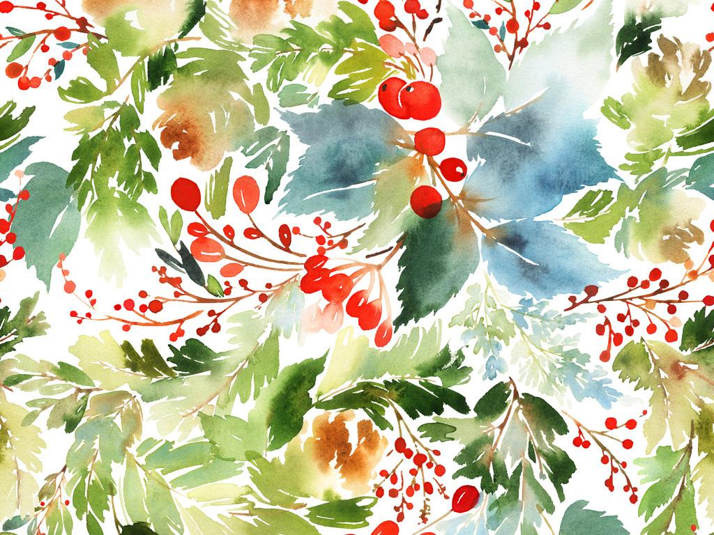 手绘水彩榭寄生圣诞节植物花环图案设计元素