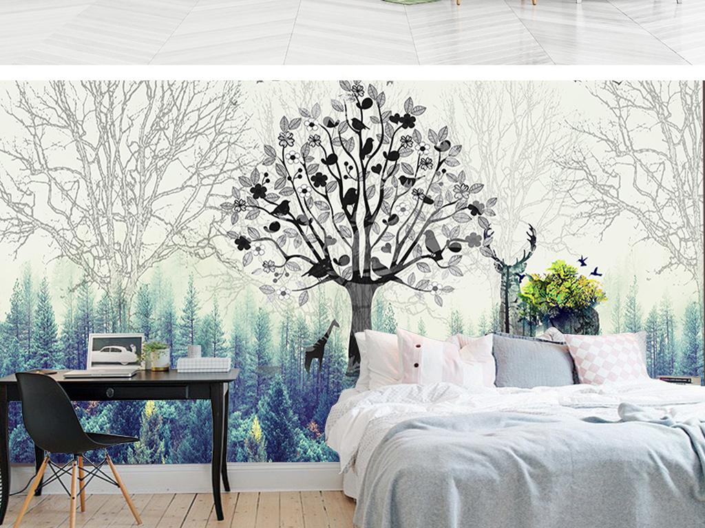 现代清新手绘森林麋鹿背景墙壁画北欧装饰画