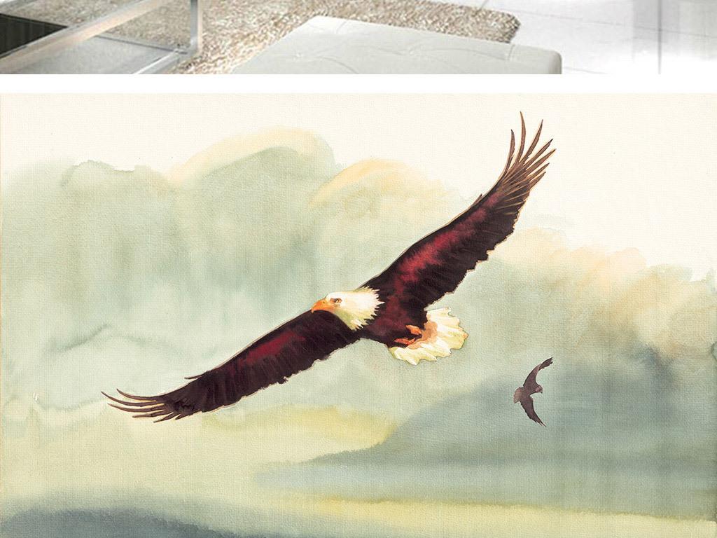 背景墙|装饰画 电视背景墙 手绘电视背景墙 > 水彩大鹏展翅老鹰飞翔