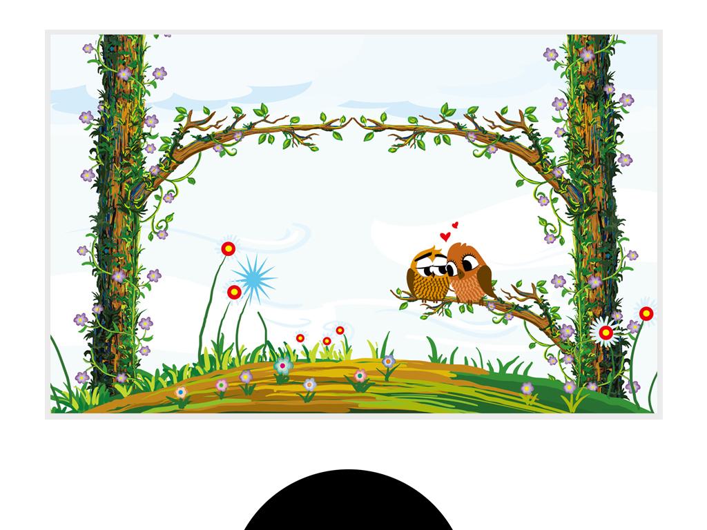 手绘卡通爱情鸟背景墙现代手绘森林背景墙