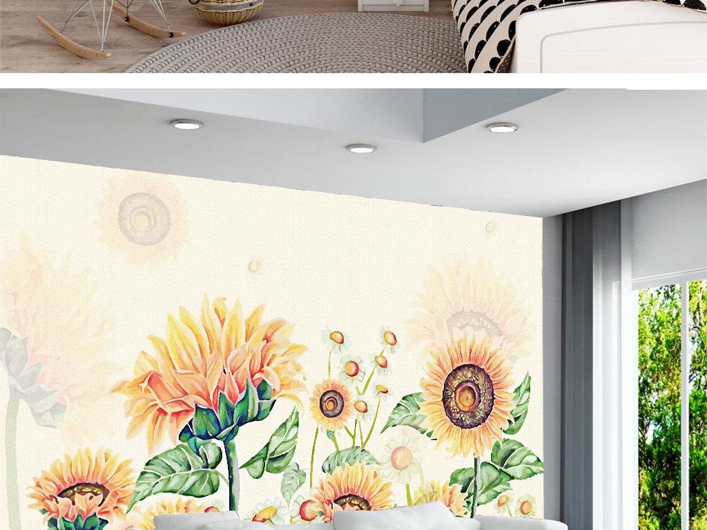手绘向日葵电视背景墙