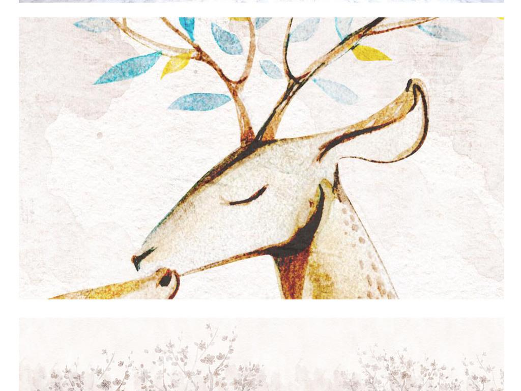 手绘唯美意境树木驯鹿装饰画背景墙