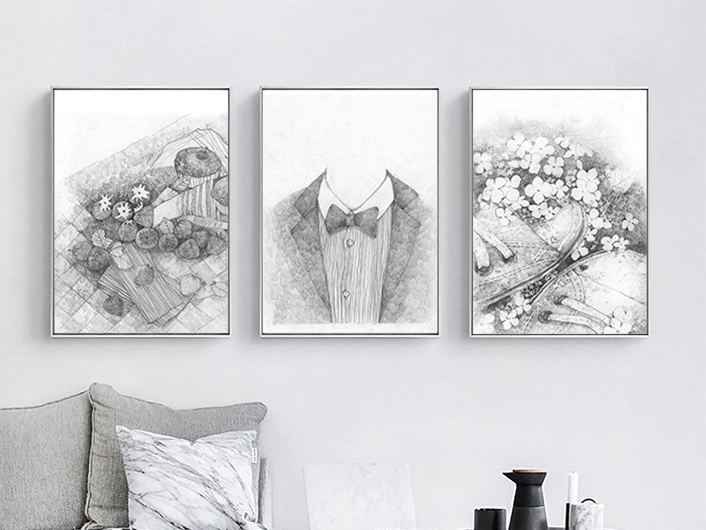 现代北欧手绘素描装饰画客厅房间装饰画