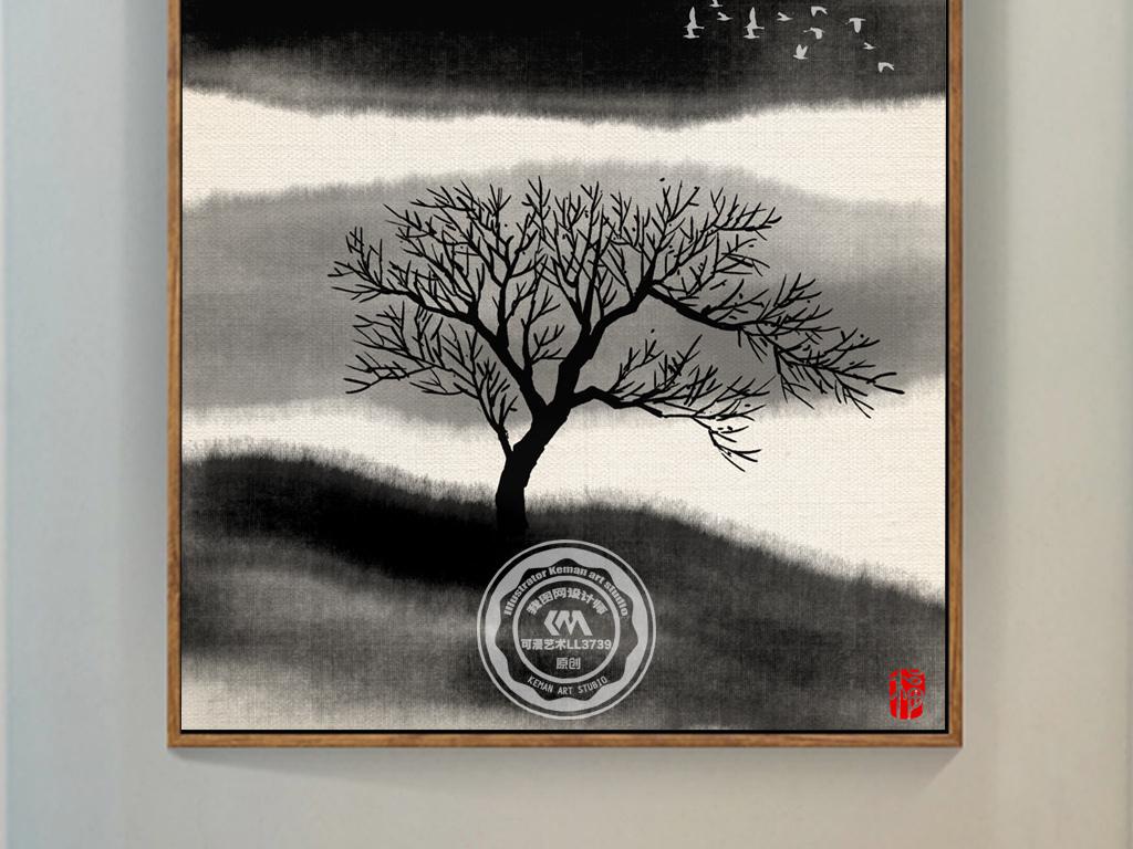 新中式水墨鹿禅意玄关背景装饰画图片