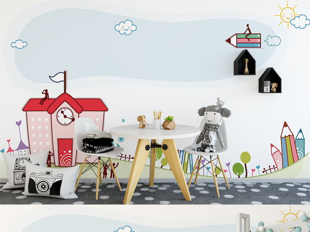 手绘儿童房卡通房子背景墙