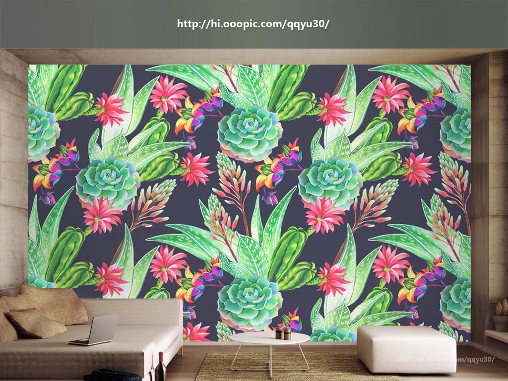 背景墙|装饰画 电视背景墙 手绘电视背景墙 > 北欧热带植物手绘背景墙