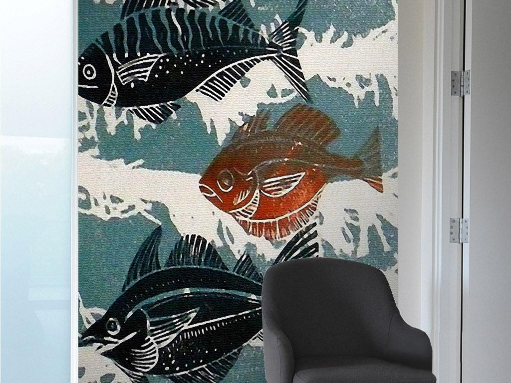 罗非鱼吴郭鱼北欧抽象手绘年年有鱼装饰画