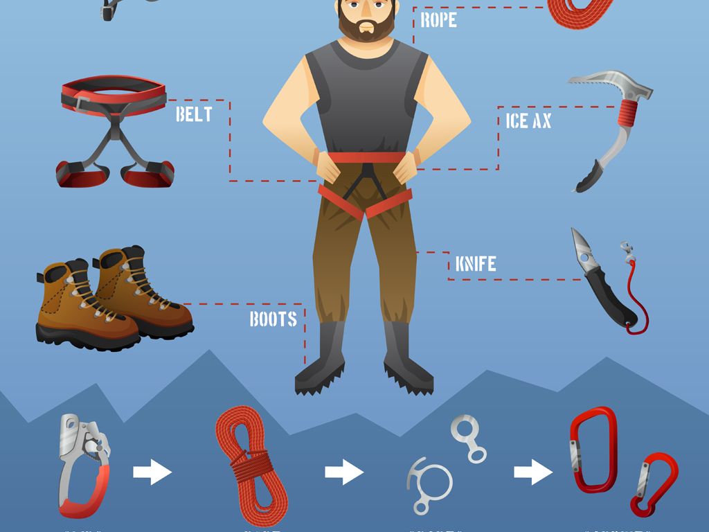登山装备_常用户外旅游登山装备工具图标矢量素材合集