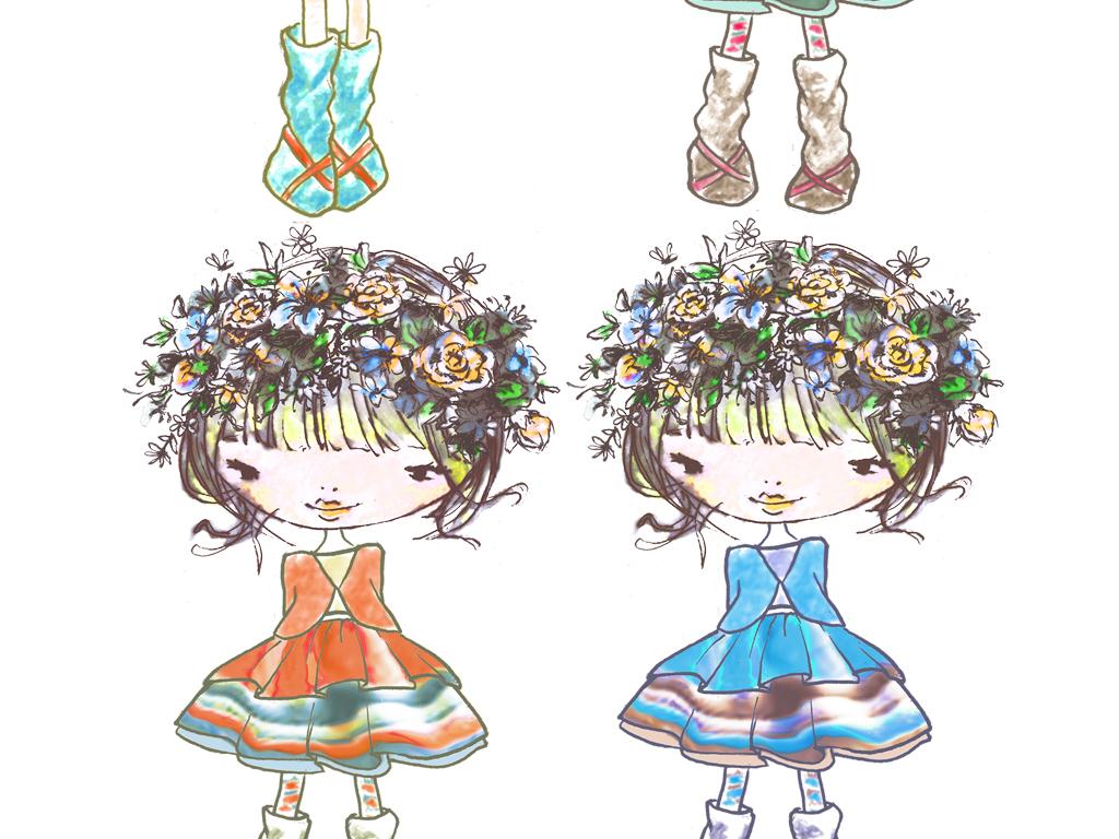 免抠元素 人物形象 动漫人物 > 手绘风可爱卡通小女孩海报素材  素材