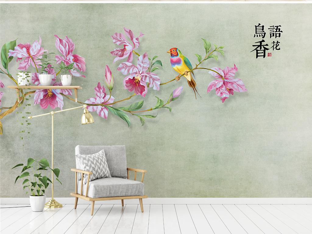 新中式简约手绘兰花背景墙鸟语花香