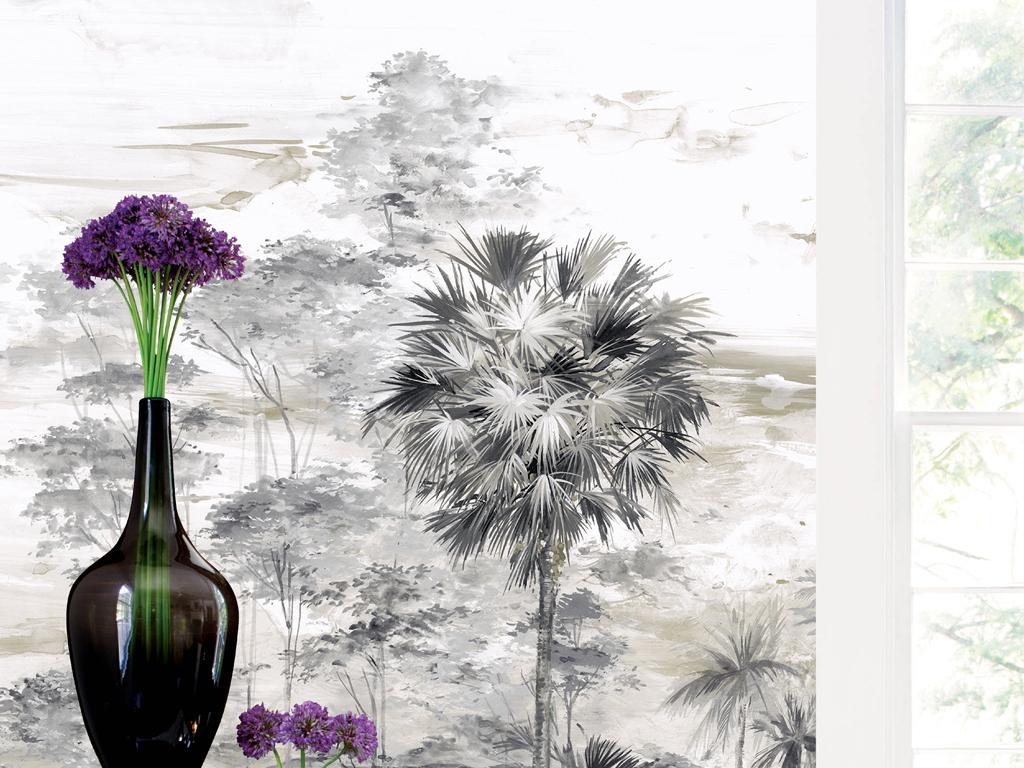 欧式手绘西洋画丛林背景墙装饰画图片设计素材 高清模板下载 377.26MB 东南亚背景墙大全