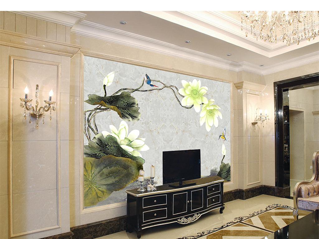 现代新中式荷花翠鸟图石纹背景高清手绘图