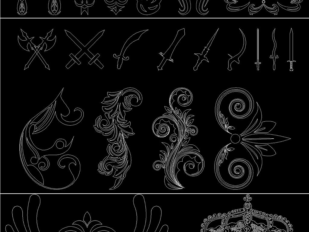 新版欧式美式花纹cad雕刻雕花图库