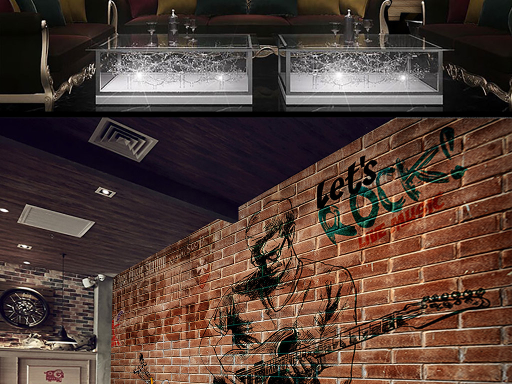摇滚赛车红砖复古工装背景墙