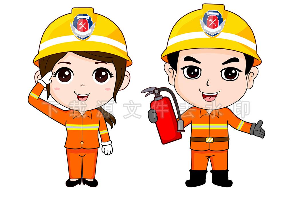 免抠元素 人物形象 动漫人物 > 卡通消防员高清分层图  素材图片参数