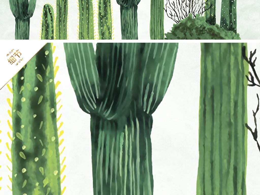 简约小清新手绘沙漠仙人掌电视背景墙壁纸墙纸贝占风格  素材图片参数
