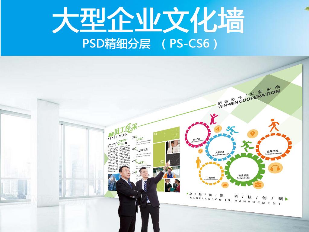 公司员工风采展示墙PSD源文件设计图片 高清 位图下载 效果图56.87
