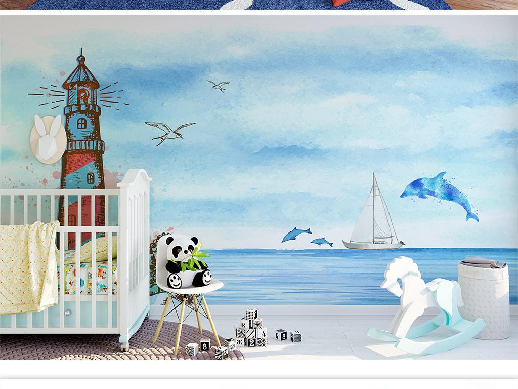 手绘灯塔海豚海洋风背景墙壁纸儿童房壁画