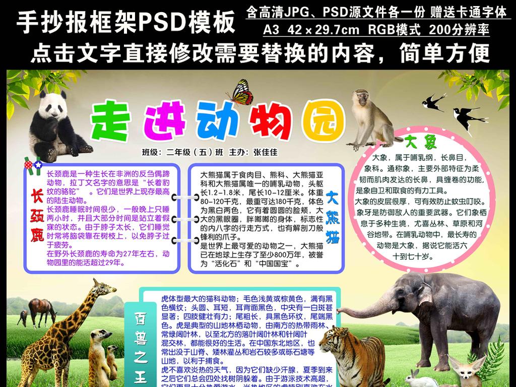psd手抄小报走进动物园空白电子手抄报图片素材_psd(.