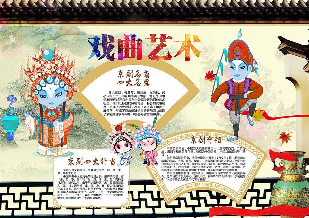 中国风戏曲国粹京剧小报手抄报psd模板图片素材 psd下载 127.23MB