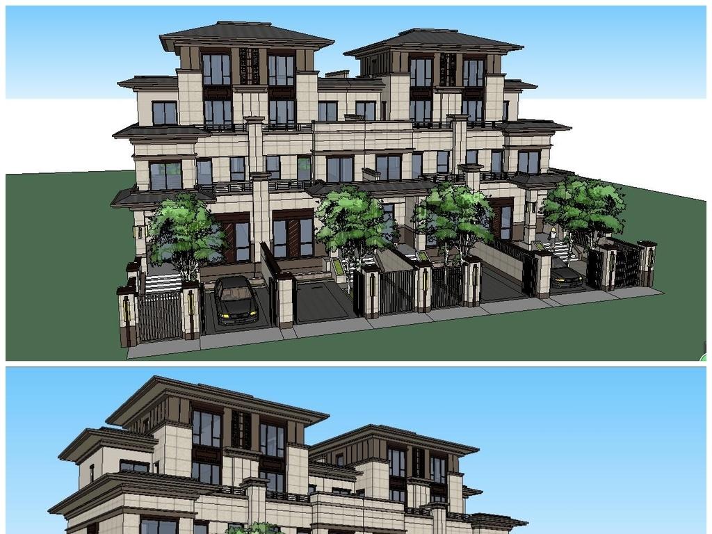 新亚洲建筑_新亚洲风格建筑su模型