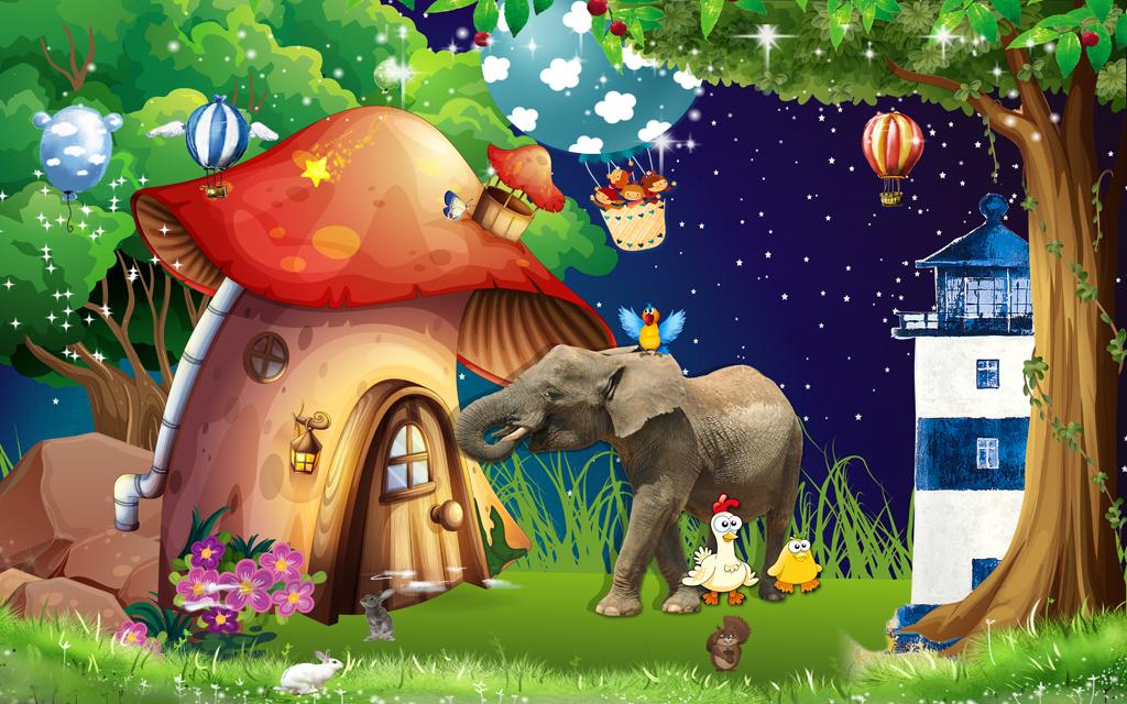 唯美森林梦幻森林卡通儿童房小孩房壁画