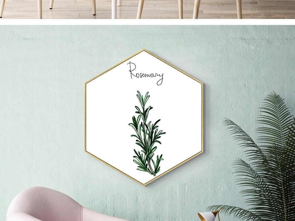 北欧小清新抽象植物叶子装饰画无框画三联画