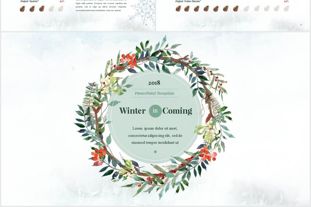 小清新水彩冬季文艺手绘花卉动态ppt模板
