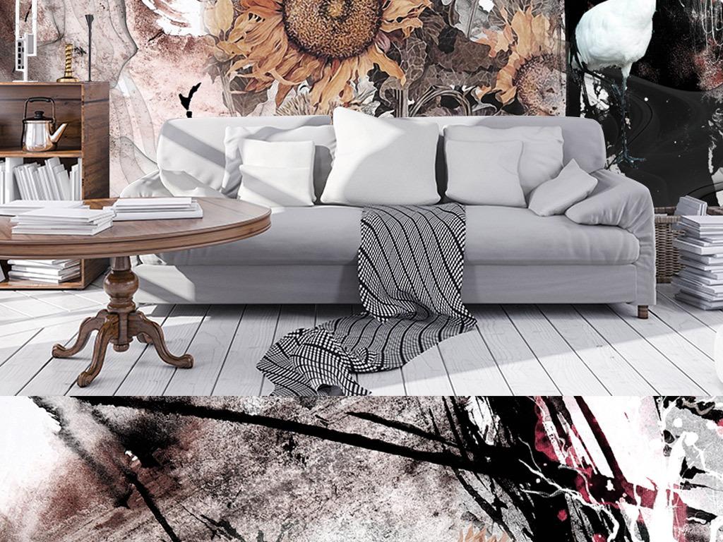 水墨涂鸦炫彩手绘水彩卡通向日葵背景墙