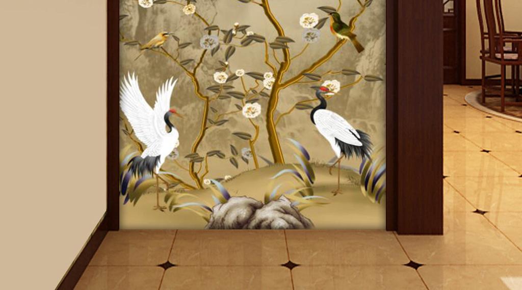 新中式彩雕山水手绘花鸟仙鹤玄关背景墙