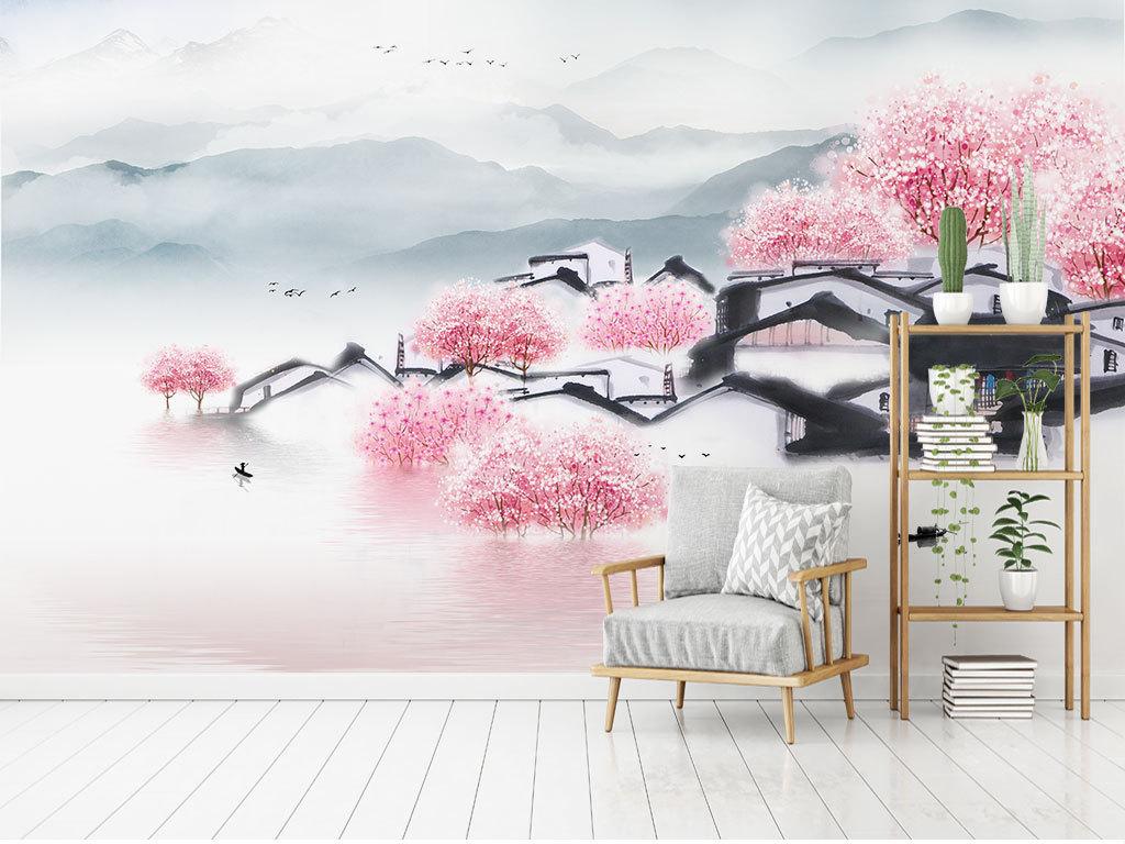 新中式手绘建筑桃花意境山水电视沙发背景墙