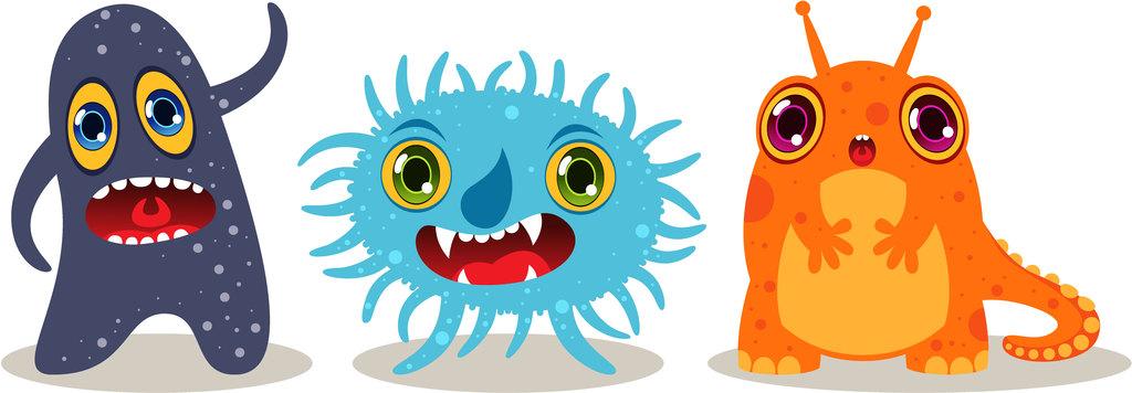 儿童画手绘可爱卡通怪兽素材