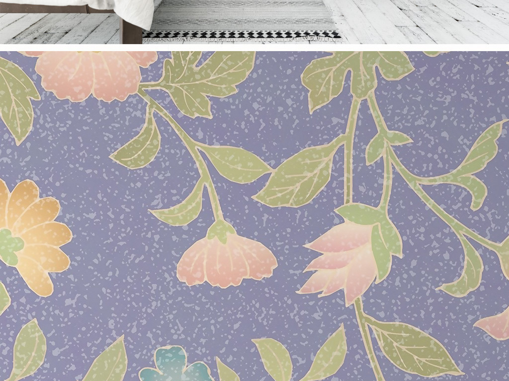 北欧极简手绘花卉背景墙壁纸壁画