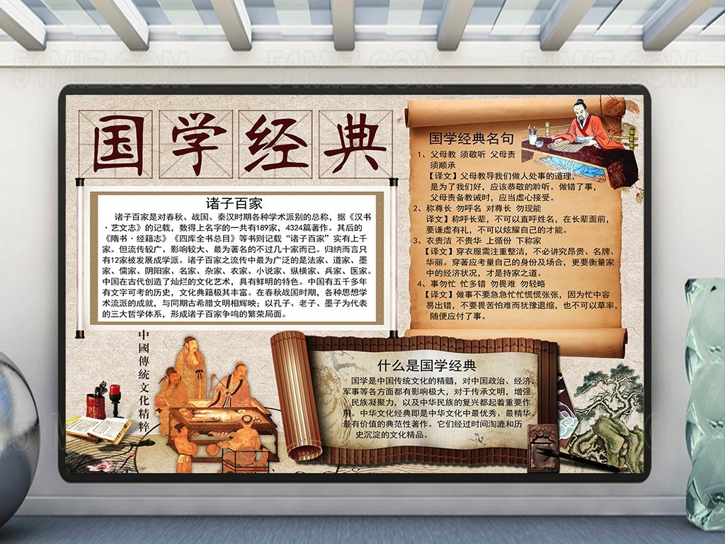 国学经典文化小报/国学经典手抄报图片素材_psd模板(.