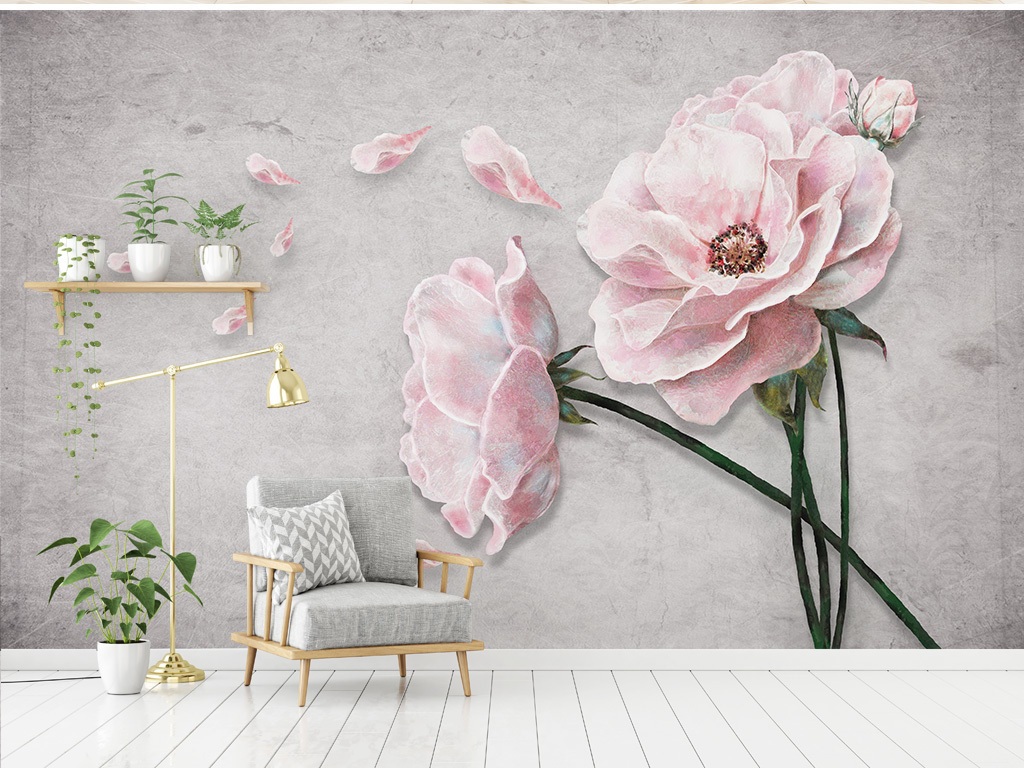 现代简约手绘玫瑰花唯美背景墙