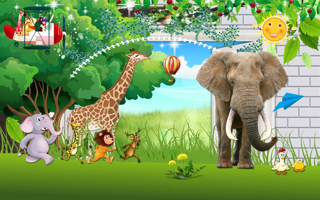动物乐园动物总动员唯美卡通儿童房小孩房