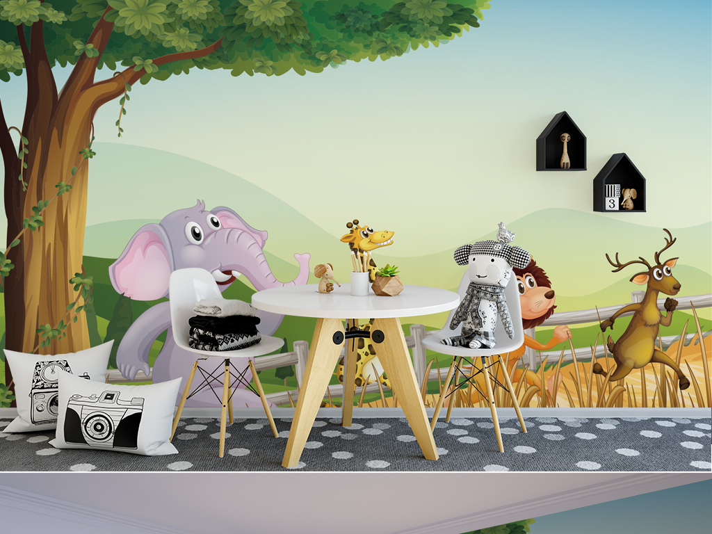 卡通儿童背景墙森系手绘小动物儿童房背景墙
