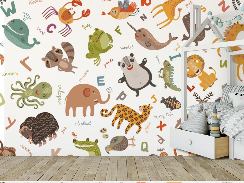 清新卡通儿童背景墙森系手绘小动物