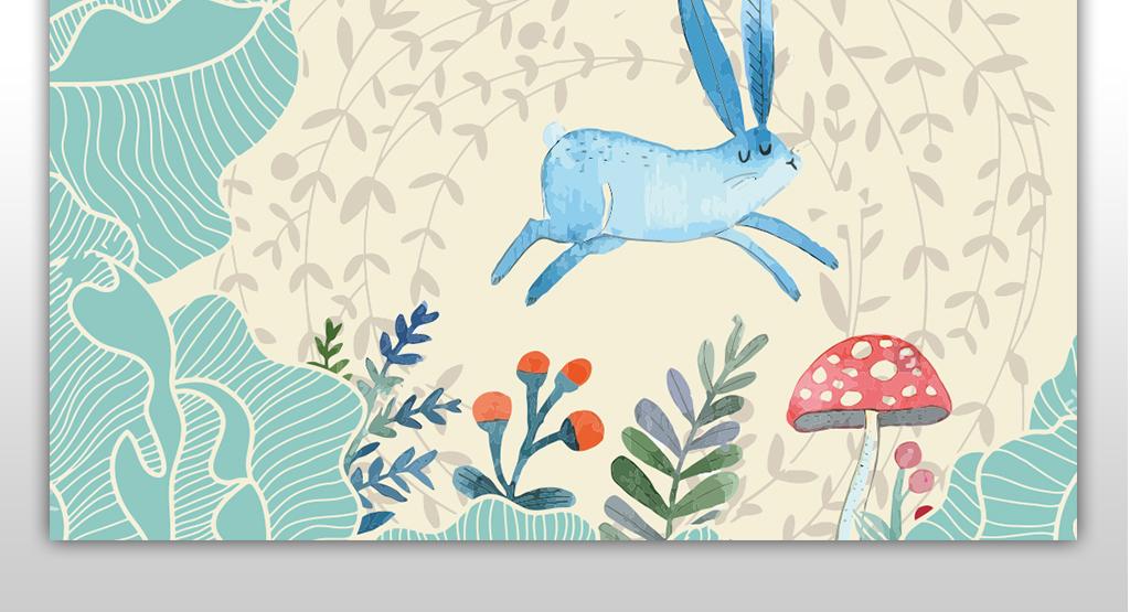 卡通儿童背景墙小清新小兔子蘑菇儿童房