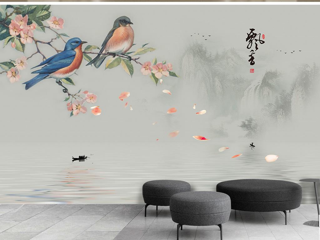 新中式手绘花鸟意境山水背景墙壁画