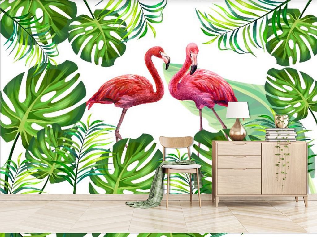 北欧火烈鸟热带雨林植物背景墙