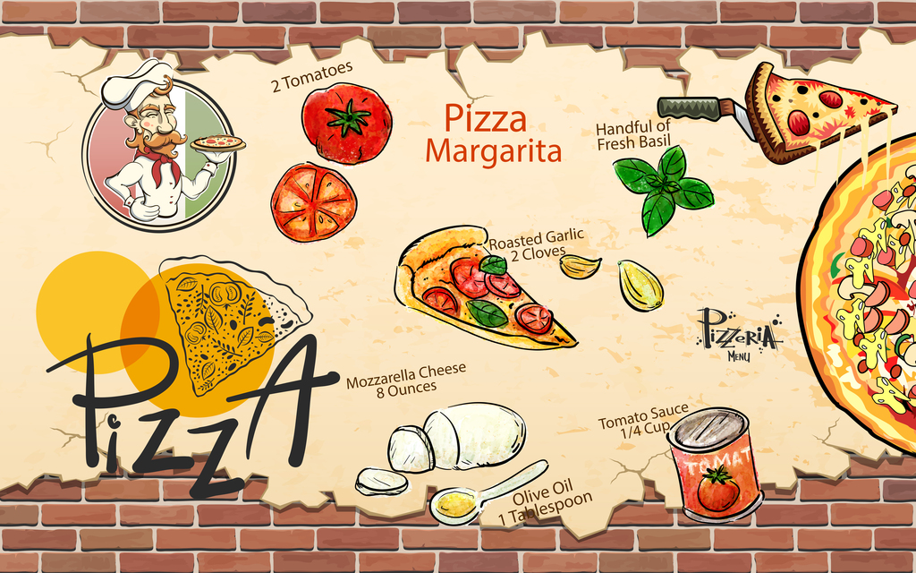 手绘披萨工装背景墙