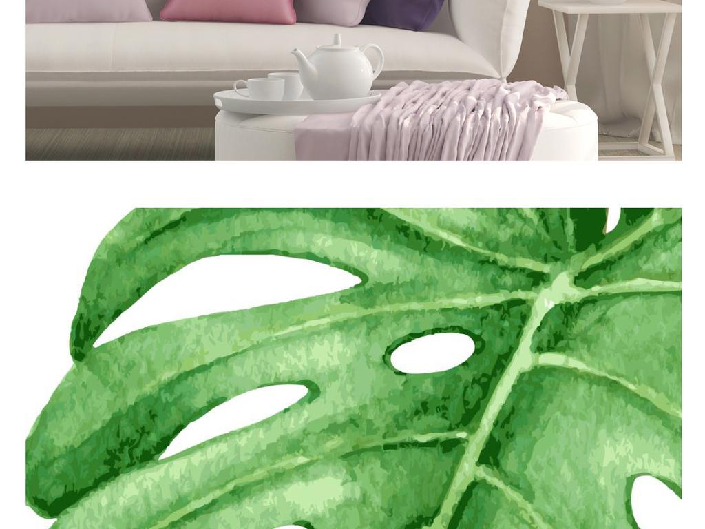 北欧清新手绘热带植物火烈鸟装饰画无框画三联画